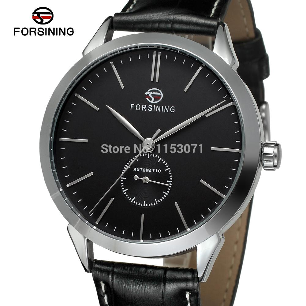 FSG8083M3S4 Forsining brand Automatic luxury men's watch with black color dial leather strap for free shipping fast shipping ultra luxury 2 3 5 modes german motor watch winder white color wooden black pu leater inside automatic watch winder