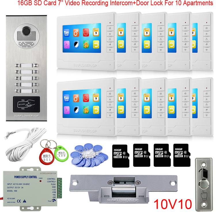 "Rfid 8/10/12 Multi Call Buttons Home Security Video Phone Intercom 16GB Video Recording 7"" Color Monitor Doorphone + Door Lock"