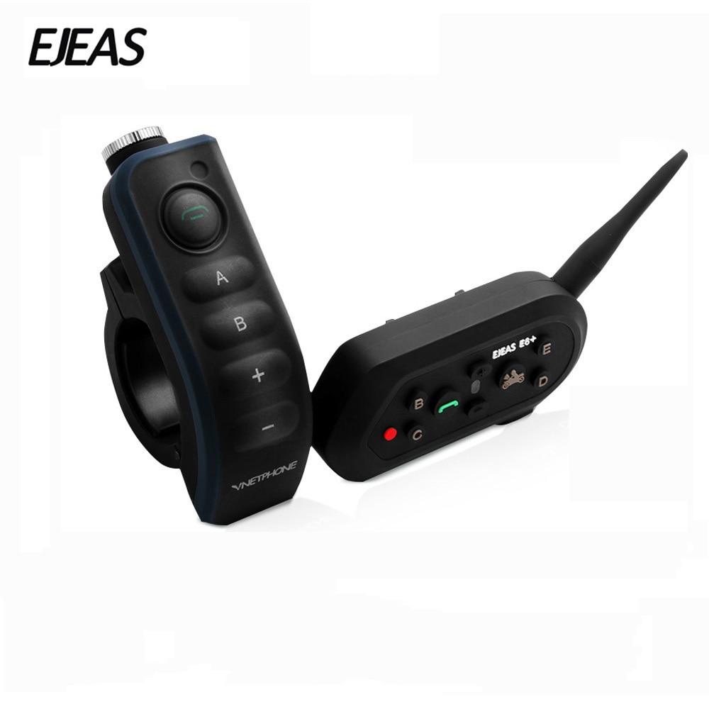 EJEAS E6 Plus BT Motorcycle Helmet Intercom 1200M Communicator Helmet Interphone Headsets VOX with Remote Control for 6 Riders