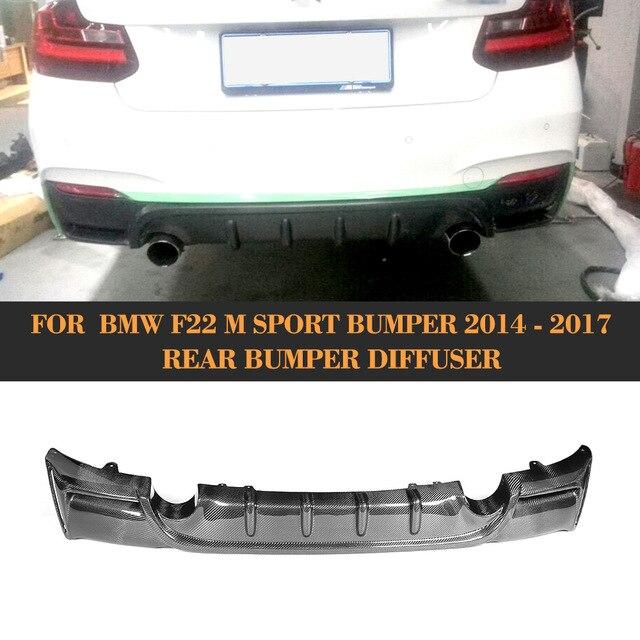 2 Series carbon fiber car rear bumper lip spoiler diffuser for BMW F22 M Sport Coupe 14-17 Convertible Black FRP 220i 230i 235i