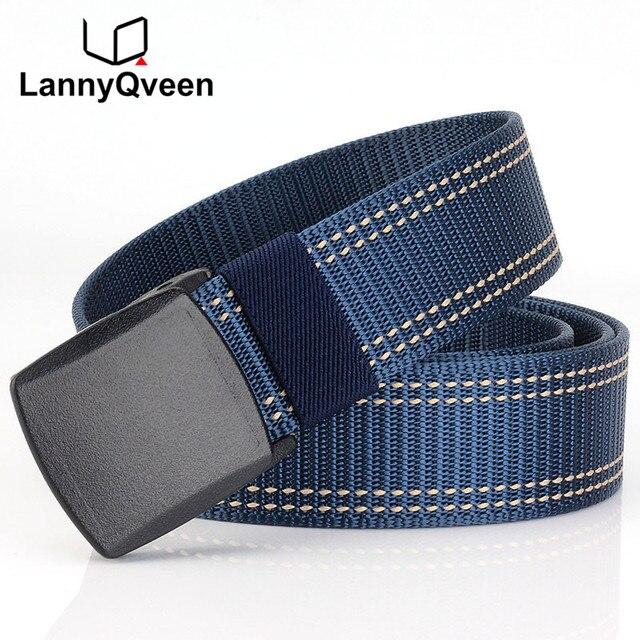 LannyQveen nuevo cinturón de nailon con hebilla de plástico cinturón táctico para hombres cinturón de lona de alta calidad