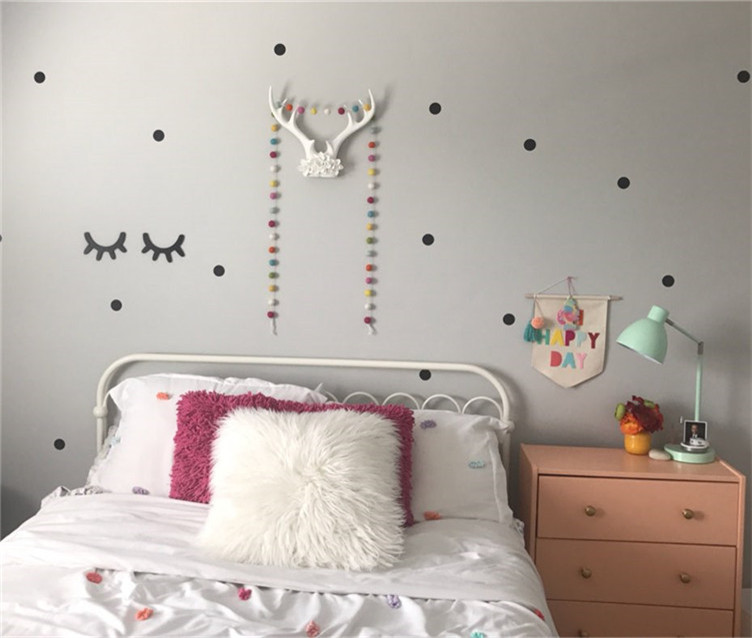 2pcs wooden 3d cute sleepy eyes eyelash pattern wall sticker diy