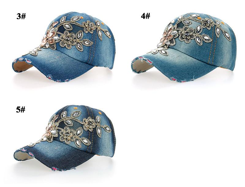 Rhinestone & Crystal Studded Baseball Cap - Various Colors Side Angle Views