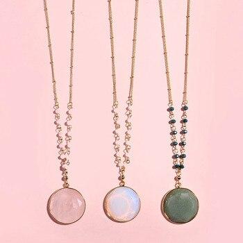 Collier pendentif en pierre d opale naturelle facettes longue cha ne populaire europ en pour les