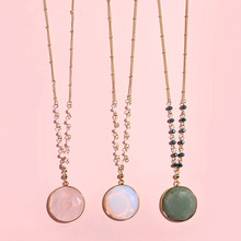 цена European Popular Round Framed Faceted Round Opal Stone Necklaces Long Chain Pendant & Necklace for Women онлайн в 2017 году