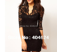Freeshipping New Fashion Semi Sheer Sweetheart Neck Scalloped Trim Floral Lace Bodycon Mini Slim Short Dress