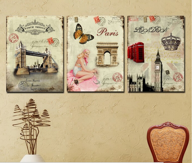3 Panel Wall Art Picture Europe Retro Decorative Paintings Famous ...