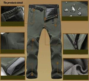 Image 4 - חורף מכנסיים גברים להאריך ימים יותר צמר מעטפת רכה תרמית מכנסיים Mens מזדמן סתיו עבה למתוח עמיד למים צבאי טקטי מכנסיים