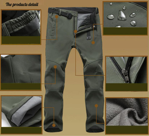 Image 4 - Winter Pants Men Outwear Soft Shell Fleece Thermal Trousers Mens Casual Autumn Thick Stretch Waterproof Military Tactical Pants