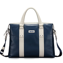 X.bnj Men's Genuine Cow Leather High End Business Briefcase Messenger IPAD Case Attache Bag Brown Portfolio Tote