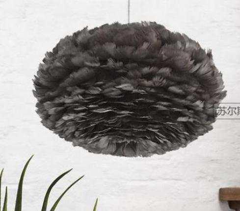 US $239.0 |Shopcase Led Schwarz Feder pendent lichter für hause Salon  Schlafzimmer Kinder Zimmer E27 Moderne Nest hängen lampe Bar Feder lampe-in  ...