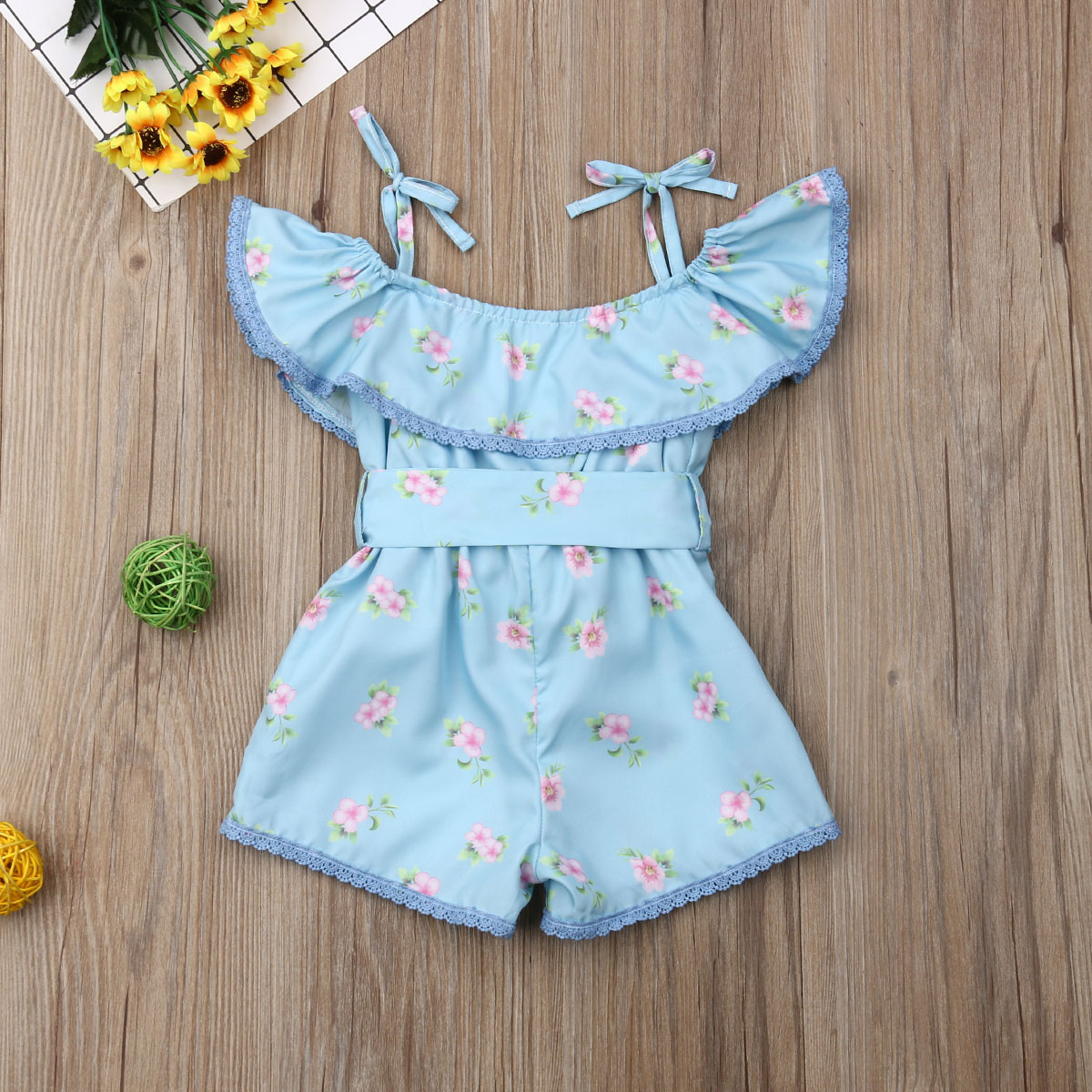 Toddler Kids Baby Girl Floral Off Shoulder Romper Butterfly Collar Jumpsuit Playsuit Clothes Overalls for Children in Clothing Sets from Mother Kids