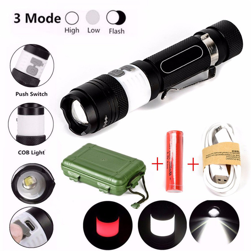 Bike Cycling Light Flashlight Kit 3 Modes 12000lm XML T6 LED Zoom Flashlight 18650 Torch USB Rechargeable Lamp Light Set A1 white purple yellow light led flashlight stainless steel torch 18650 rechargeable uv torch olight jade identification