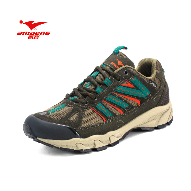 Baideng Brand Men outdoor shoes Breathable hiking shoes leather & mesh shoes camping climbing rubber sole hiking shoes high quality men hiking leather mesh botas climbing boots male rubber sole outdoor mountain shoes non slip breathable sneaker
