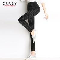 New 2018 Hot Sale Plus Size 6XL 5XL 4XL Women Pencil Pants Elastic High Waist Pants Black White Stripe Leggings Trousers