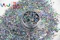 HA2104-223 Holográfica Láser de Luz de Color Negro Forma Hexagonal Cequis Del Brillo para el arte del clavo de DIY y la decoración de Vacaciones