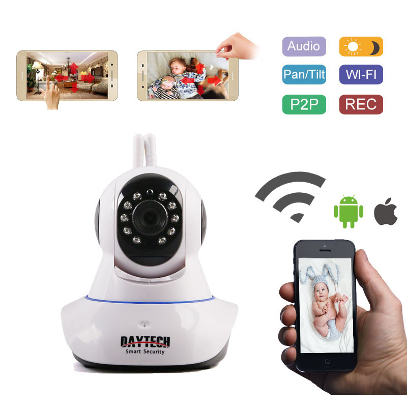 Daytech IP Camera Home Security WiFi Kamera Wi-Fi Rangkaian Monitor Motion Alarm P2P Night Vision Dua Arah Audio DT-C101A 1080P