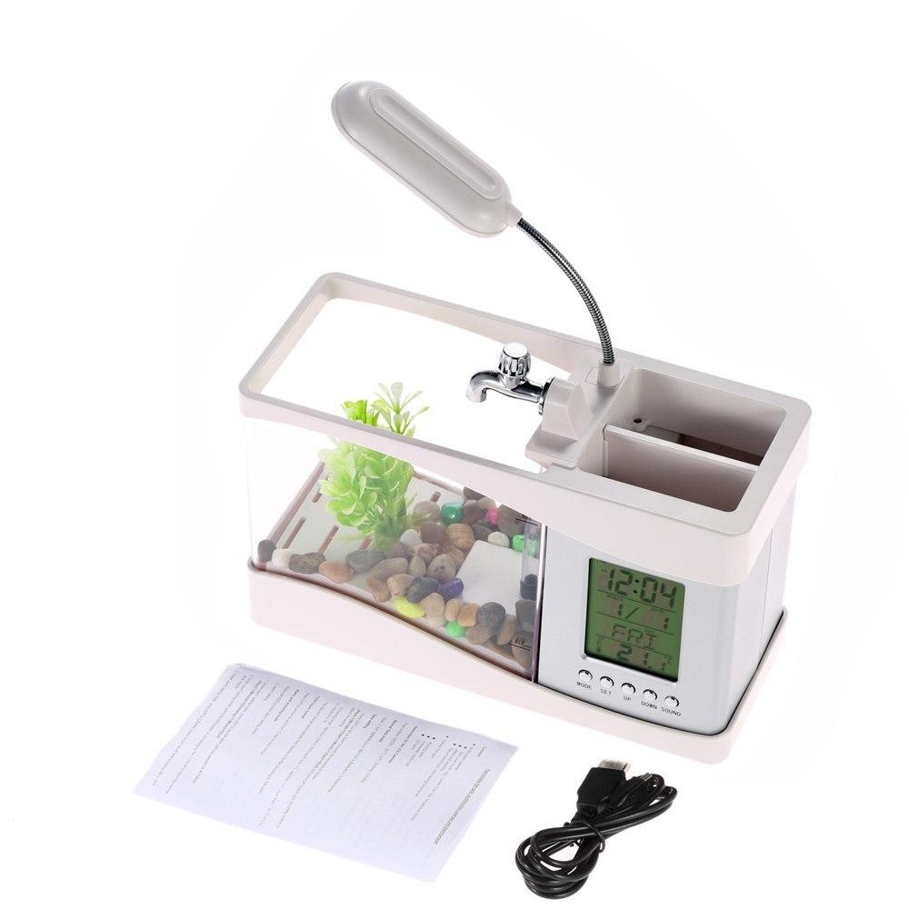 Mini Aquarium électronique de bureau Usb Mini Aquarium avec pompe à LED en cours d'exécution horloge calendrier lumière blanc noir - 2