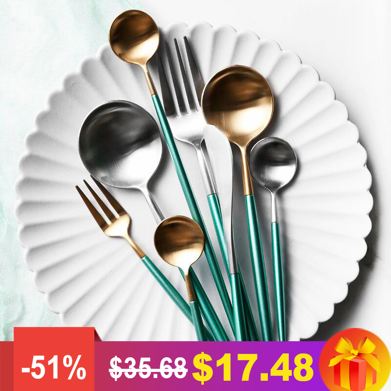 4PCS/Set Cutlery Stainless Steel Green Gold Silver Two Colors Dinnerware Set Dinner Fork Knife Scoops 4PCS