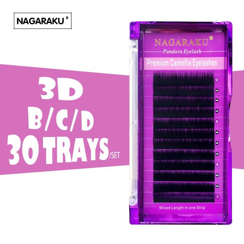 NAGARAKU 30cases 3D 6D Camellia Eyelash Pandora Eyelashes 0 07 Volume Eyelash Extensions Mixed Length in