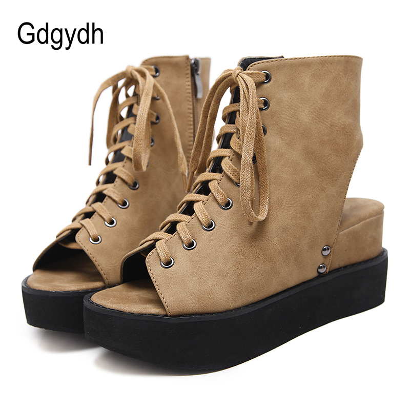 Gdgydh Peep Toe Spring Boots Woman Wedges Shoes High Heels Ladies Casual Shoes Lace Up Side Zipper Rome Style Summer ComfortableGdgydh Peep Toe Spring Boots Woman Wedges Shoes High Heels Ladies Casual Shoes Lace Up Side Zipper Rome Style Summer Comfortable