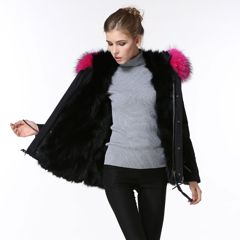 Elegant Black Warm Thick Fur Jacket winter Women Rose red raccoon fur Collar Short parka