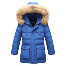 8 9 10 11 12y Big Boys Winter Thickenind Hooded Down Jacket with Fur Cap Kids