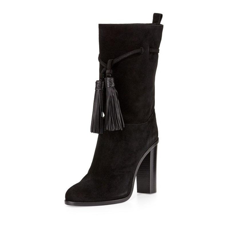 Spring Autumn Women Ankle Boots pointed toe chunky high heels martin botines fringe tassels Fashion Comfort shoes bota feminina
