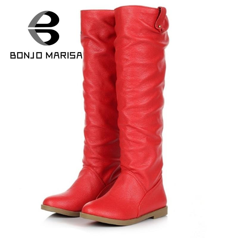 ФОТО Women Knee High Boots Big size 34-43 Flat Heels Round Toe Spring Autumn Outdoor Winter Short Fur Shoes Classic Knight Boots