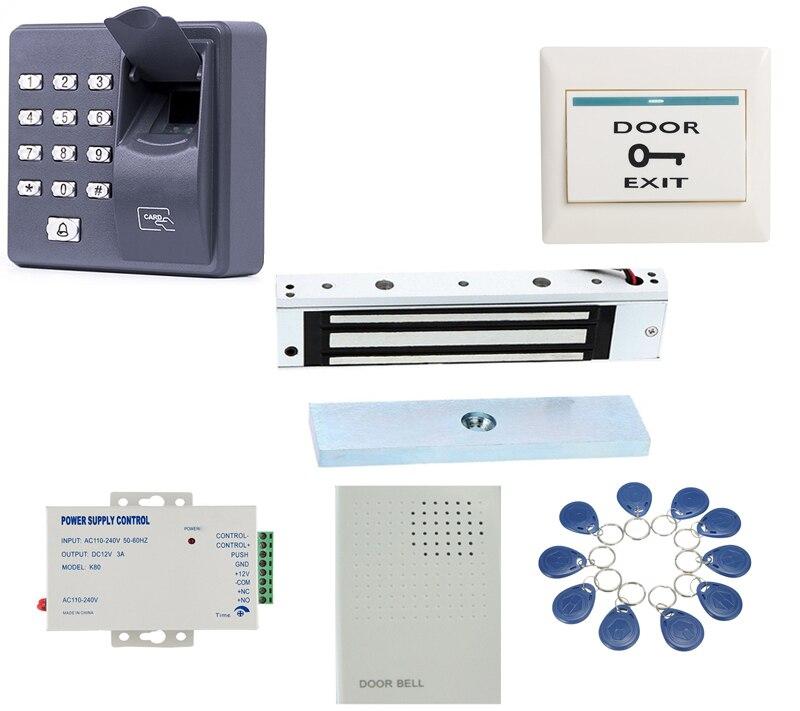 все цены на Biometric Fingerprint & RFID ID Card Door lock Access Control 180kg door lock kit with doorbell+10 tags/10pcv cards онлайн