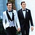 2016 branco Custom noivo smoking Best Man pico lapela padrinhos homens vestidos de casamento