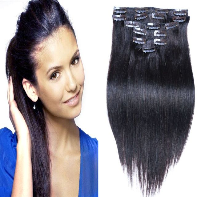 Top Straight Clip In Hair Extensions Natural Indian Virgin Hair Clip