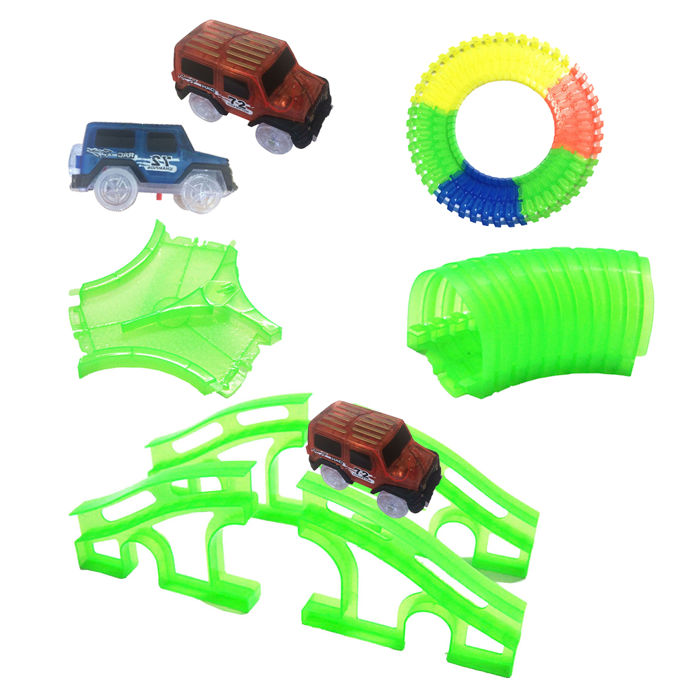 New Glowing Car Racing Track Glow in dark toys Crossing Tunnel Arch Bridge Car Set Bend