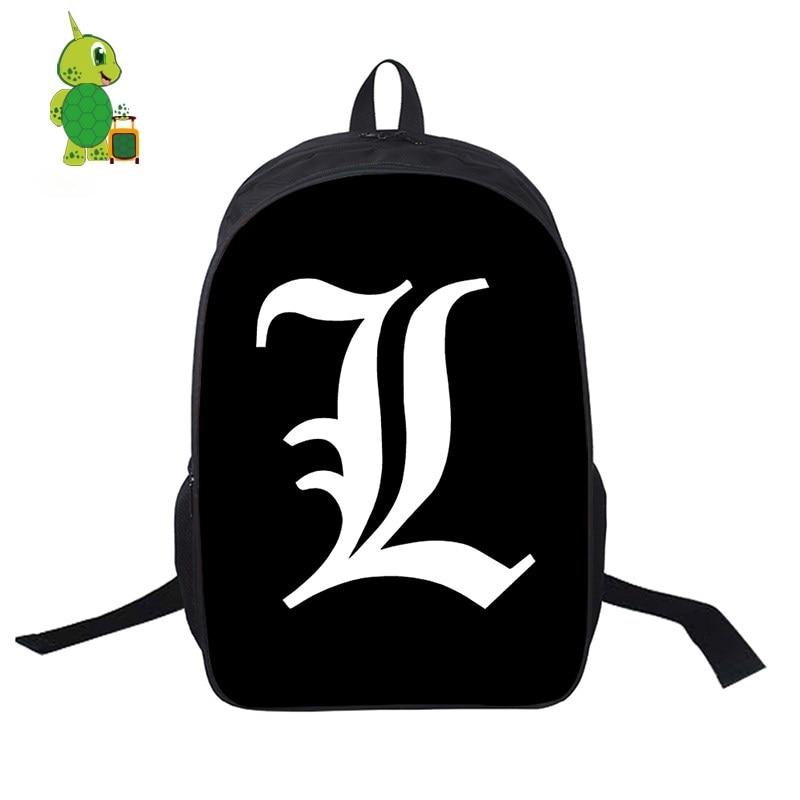 Death Note L Light School Bags Women Men Daily Backpack
