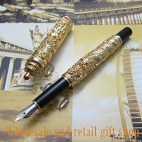 Jinhao L800 Chinese double Dragons Playing With The Pearl and Guta Fountain Pen metal gift pen ink pen