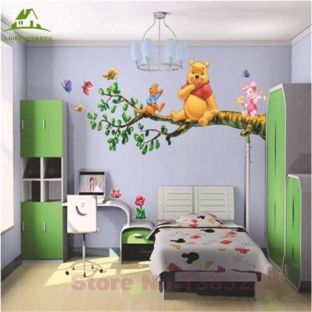 Tier cartoon Winnie Pooh vinyl wandaufkleber für kinderzimmer jungen ...