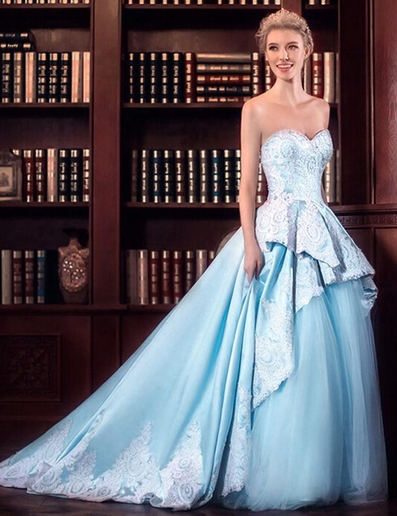 Light Blue and White Lace Appliques Wedding Dress Sweetheart Satin ...