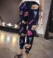 Plus Size 2XL 2016 Nova Quente de Verão Chiffon Calças Boa qualidade Moda Impresso Solto Casual calças De Cintura Alta Harém Mulheres calças