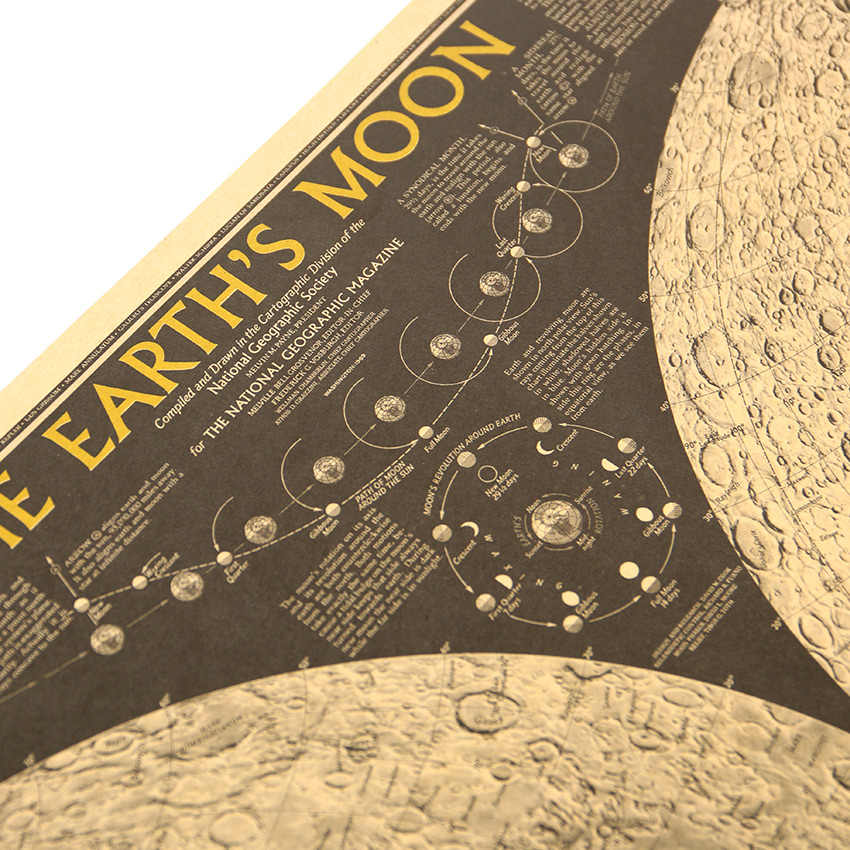 Плоский стикер на стену большая винтажная бумага земля Луна Карта мира Плакат настенная диаграмма украшение дома Наклейка на стену