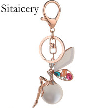 Sitaicery New Angel Girl Glitter Keychain High Quality Rhinestone Crystal Ball Car Charm Pendant Key Ring For Women