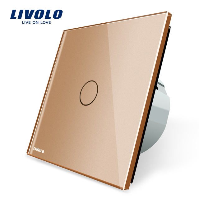 Livolo New Type Touch Switch, Golden Color, 220~250V Touch Screen Wall Light Switch,VL-C701-13