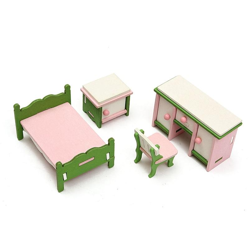 Hot Sale Diy Handmade Doll House Miniature Bedroom Wooden Furniture Set Gifts For Children Kids