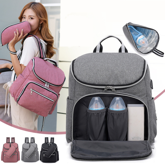 2018 New Fashion USB Charging Women Backpack Large Capacity Laptop Travel  Rucksack Designer Mom Shoulder Bag 1e3b9a6b07656