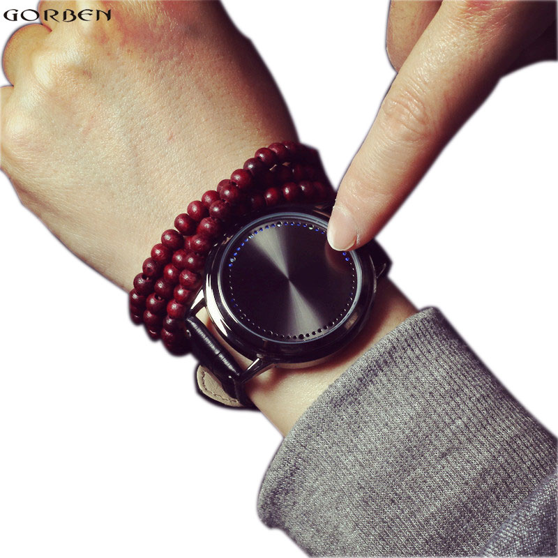 Hot Creative Personality Minimalist Touch Screen Waterproof LED Watch Leather Men Women Couple Smart Electronic Casual Wristatch popular black skull sports watch silicone bands touch screen led watch women mens free shipping gitt for lovers couple