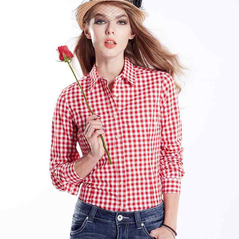 441b2014000 ... Ladies Checked Shirts Women s Slim Fit Black White Plaid Shirt Female  Long Sleeve Red Blue Checked ...