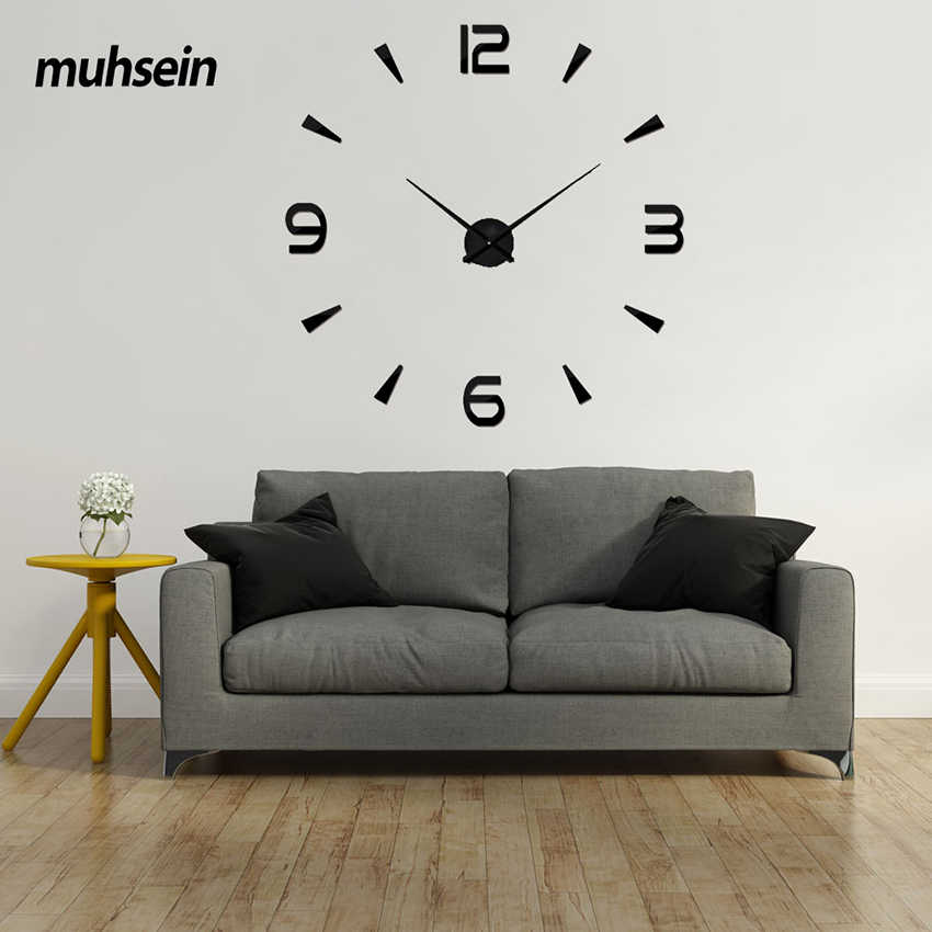 2019 New Year Gift 3D Wall Clock Modern Design Acrylic Digital Sticker DIY Big Wall Clock Decoration Living Room Free Shipping