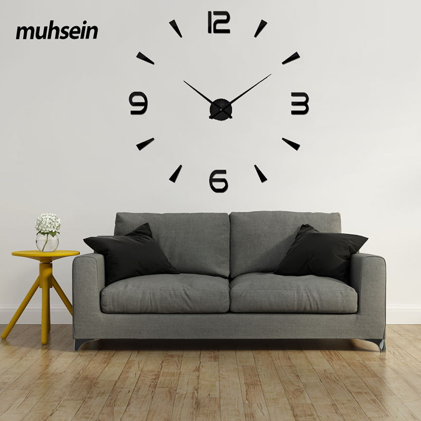 2019 cadou de Anul Nou 3D ceas de perete Modern Design Acrylic Digital autocolant DIY Big Wall Clock Decorare Camera de zi Transport gratuit