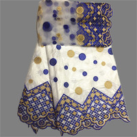 High Class 5 yards African Bazin Lace Matching 2 yards French Net Lace Cloth EBN7(5+2yards)