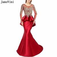 JaneVini элегантный красный Пром платье с глубоким круглым декольте золото аппликации бисером спинки атлас платья для женщин одежда с длинным
