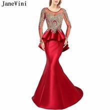 22acf56bf65 JaneVini élégante robe de bal rouge encolure dégagée or Appliques perlées  dos nu robes en Satin manches longues sirène femmes ro.